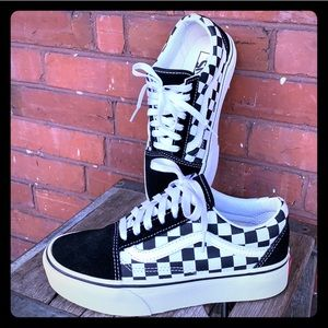 VANS Old Skool Platform Checkerboard Sneakers